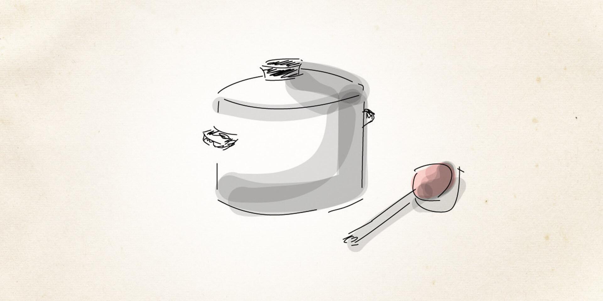 Kochtopf und Löffel